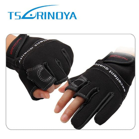 Cheap!!Tsurinoya Anti-Slip L/XL Durable Gloves Three Fingers Hunting Gloves Waterproof Fishing Glove Tackle Tools Surfcasting