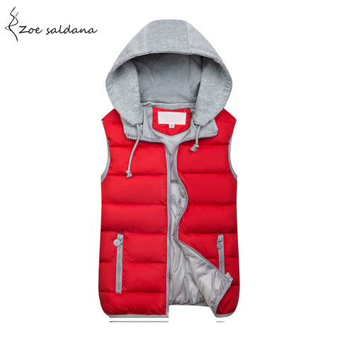 Zoe Saldana 2018 Women Hooded Vest Spring Winter Warm Cotton Padded Waistcoat Sleeveless Zipper Basic Coat