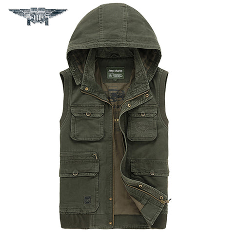 100% Cotton New 2015 Autumn Spring Men Vest Casual Military Waistcoat Jacket Vests Brand Big Size L-5XL #jpzc8582