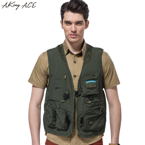 AKing ACE 2017 Mens vests with pockets Sleeveless Military Vest Men Jacket Mesh Breathable Army Waistcoat M - 4XL ZA321 45