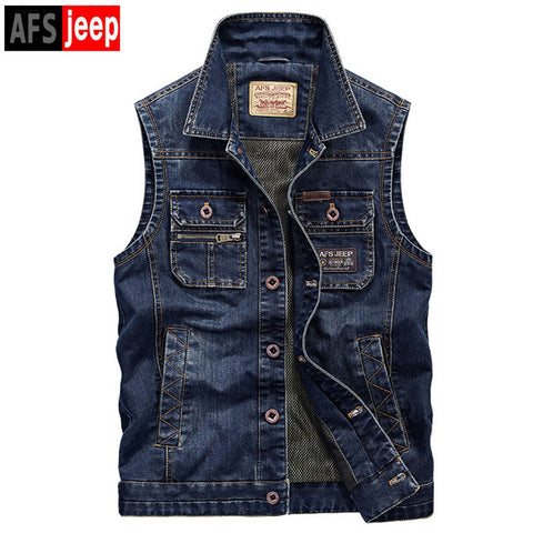 Brand Afs Jeep Male Denim Vests Men2XL 3XL 4XL  Vest Mens Outdoors Cotton Multi Pocket Sleevless Jean Jacket Men Jeans Masculino