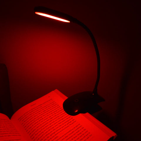 GembaRed Calm Red LED Clip Book and Reading Light