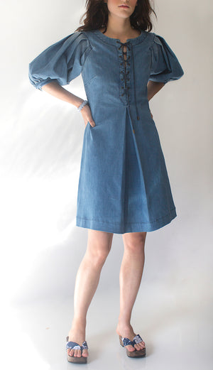 Lace-Up Denim Dress w/ Full Sleeves