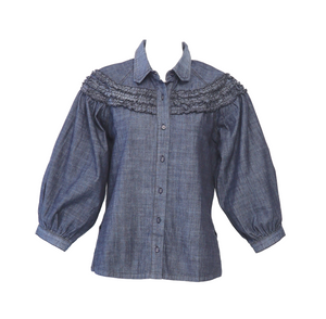 Full Sleeve  Denim Shirt w/ Ruffles