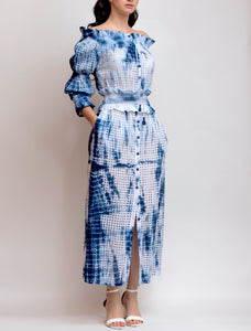 Off the shoulder 3/4 sleeve Tie Dye Eyelet Dress