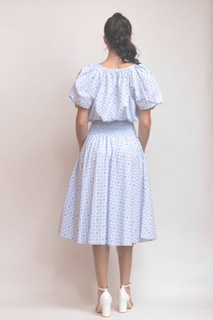 Azulejo Smocked Waist Skirt
