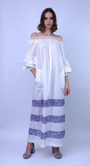 Cotton Voile Dress with Embroidery Detail