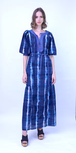 Indigo Tie Dye Madras Dress