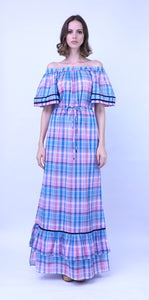 Off the shoulder Long Madras Dress