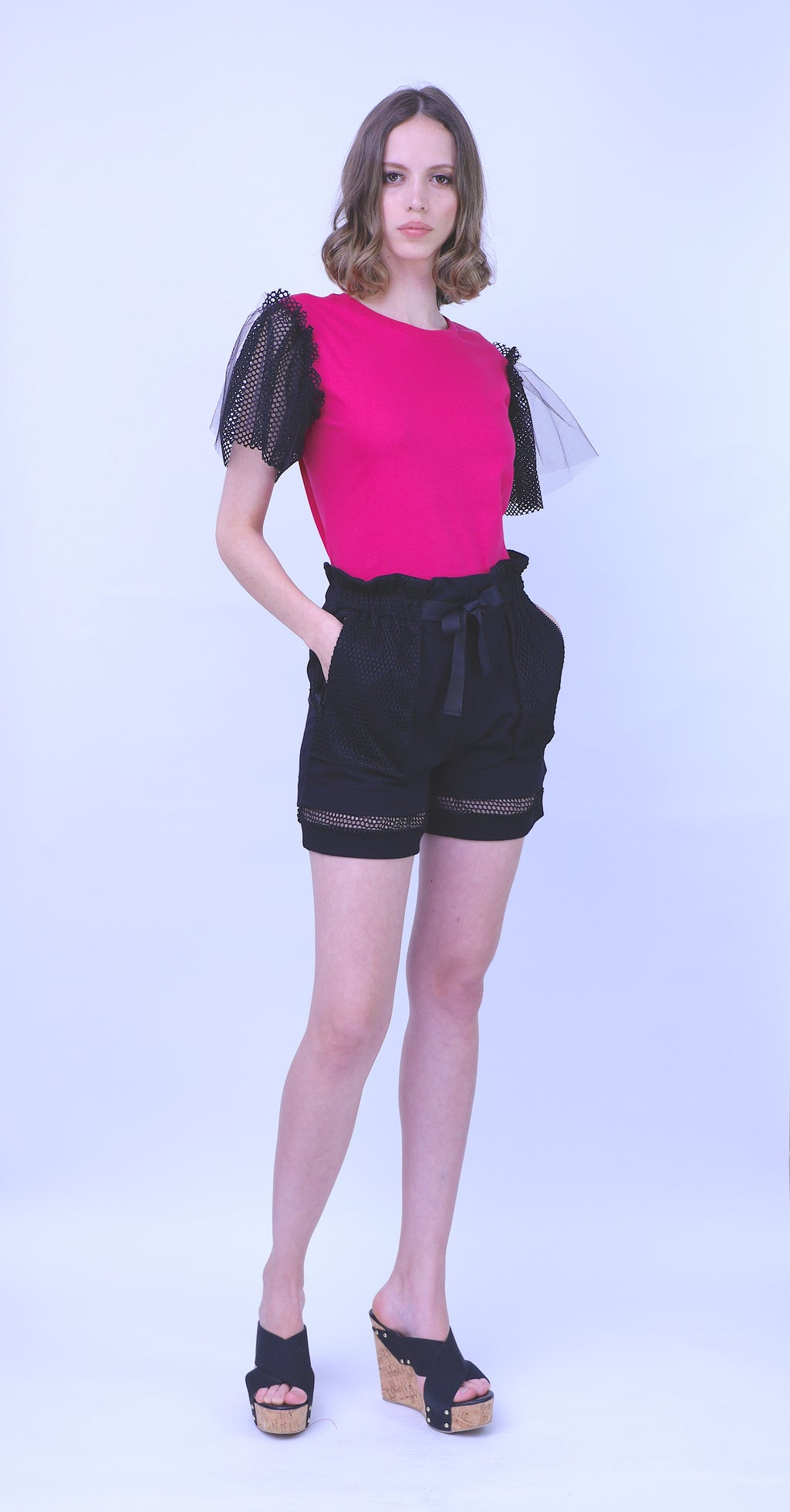 Paper Bag Waist Cotton Knit Shorts
