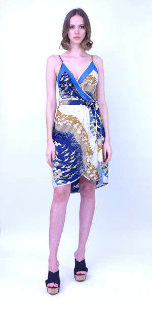 Japanese Print Wrap Dress