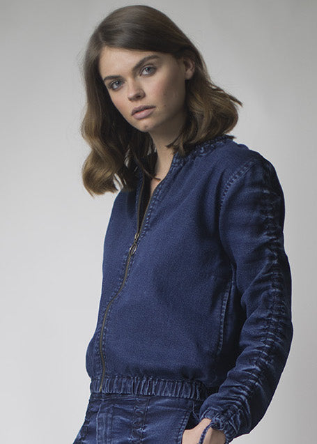 Denim Bomber Jacket with ruched neckline & sleeves- C02 -