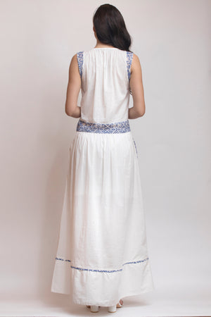 Pleated Cotton Dress with Embroidery Detail