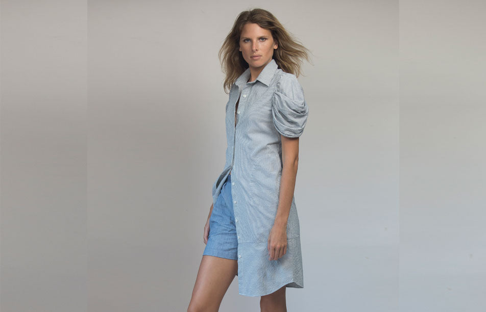 Seersucker shirt dress  w/ butterfly sleeve - V19