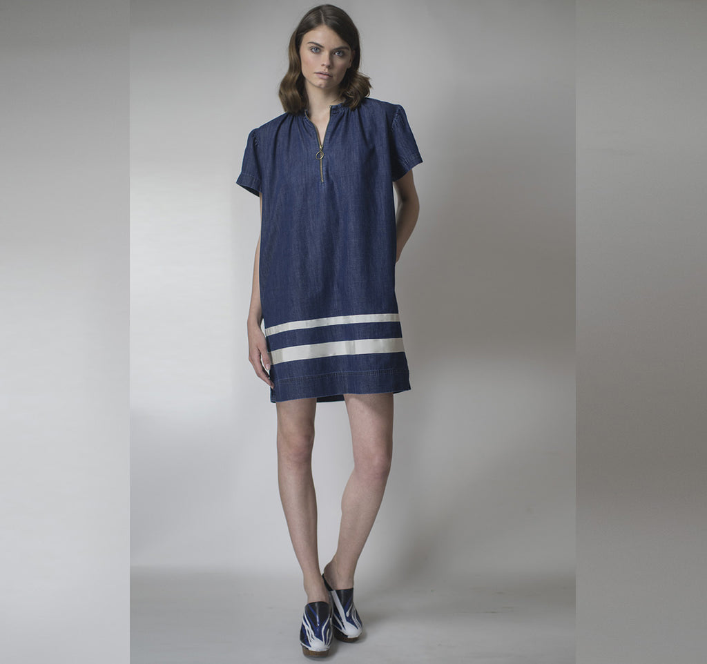 Short Sleeve Denim Dress with Ruched Neckline and Nautical Stripes -C12-