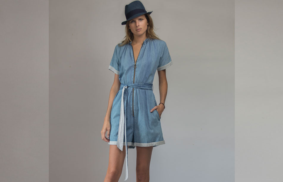 Denim Zip Up Romper with Ruched Neckline- C21-