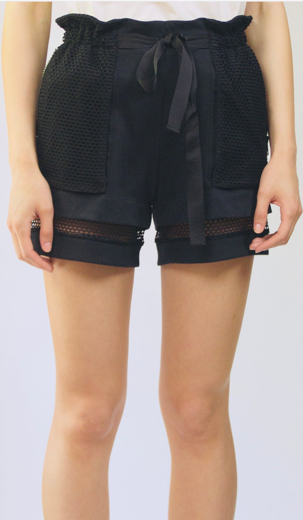 Paper Bag Waist Cotton Knit Shorts T 08