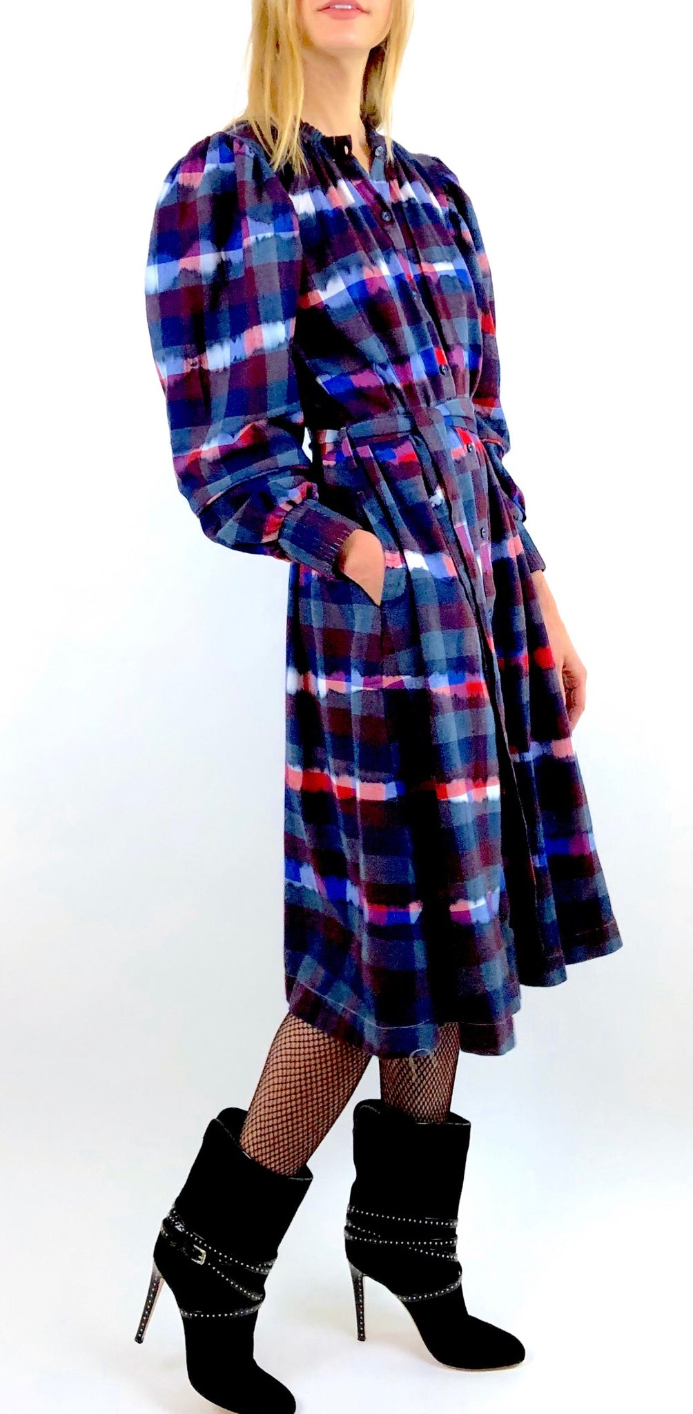 Long Sleeve Indigo Tie Dye Flannel Dress