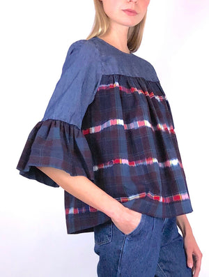 Denim and Tie Dye Plaid Blouse H 22