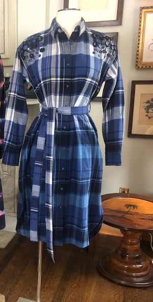 Plaid Dip Dye Shirt Dress Embroidered with Vintage Buttons  H 100
