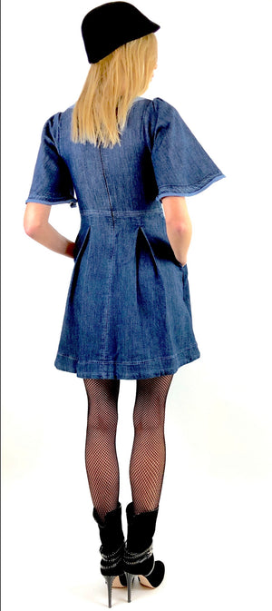 Knit Lace-Up Denim Dress R 14