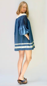 Off the Shoulder Tunic/Dress with Pleated Sleeves & Nautical Stripes - C08-