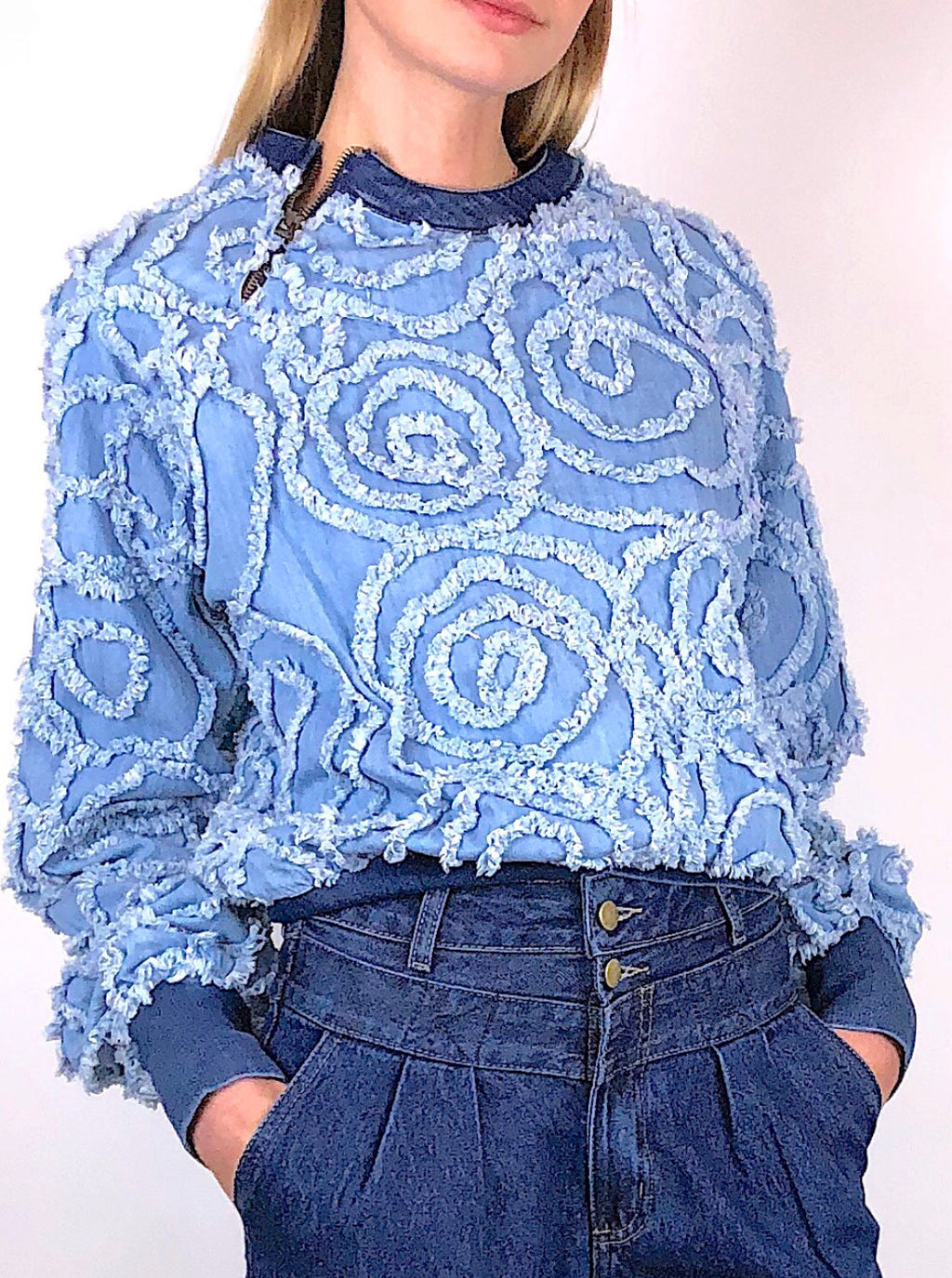 Frayed Embroidery Denim Sweater -  W144 -