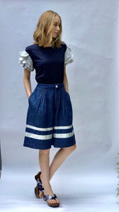 Pleated Wide Legged Bermuda with Nautical Stripes - C13 -