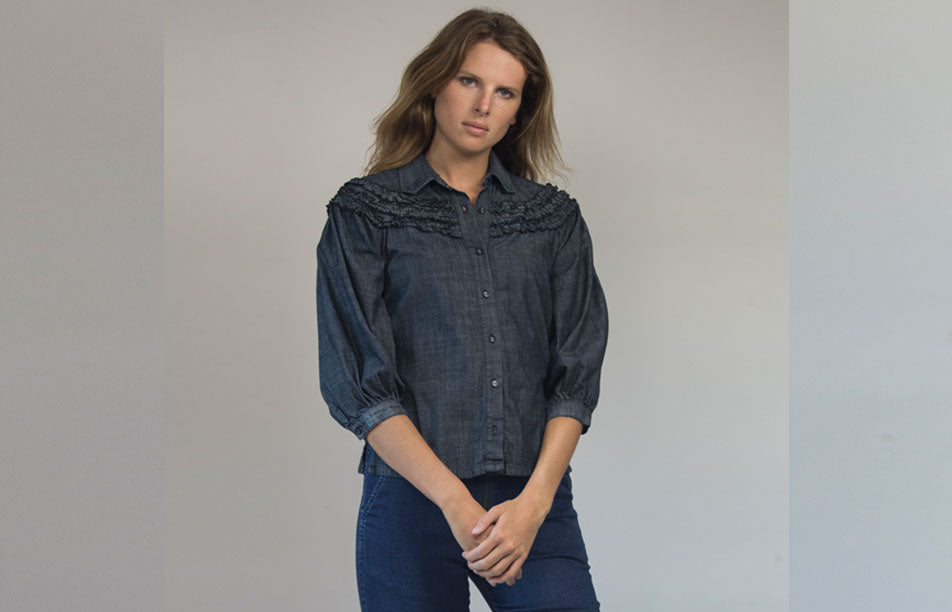 Grey Denim Blouse with Ruffle - R 13 -