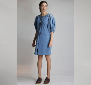 R17 - LACE UP DENIM DRESS WITH PUFF SLEEVES