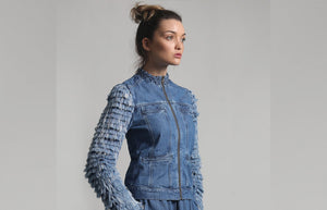 "Denim Bomber Jacket with ""Denim Fur"" Sleeves -W16"