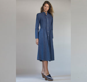 Plated Denim Shirt Dress-  W 7