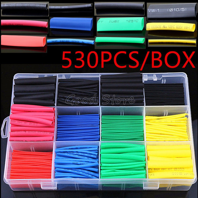 530PCS/580PCS/260PCS Heat Shrink Tubing Insulation Shrinkable Tubes Wire Cable Sleeve Kit Heat Shrink Tubes
