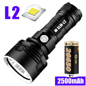LED Flashlight L2 XHP50 Tactical Torch USB Rechargeable Super Powerful