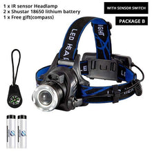 LED headlamp fishing headlight T6/L2/V6 3 modes Zoomable lamp Waterproof