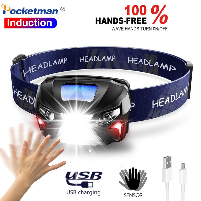 Headlamp Rechargeable LED Headlight Body Motion Sensor 10000Lm Powerful