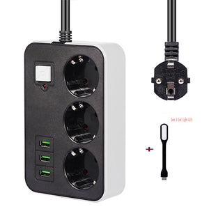 Portable Strip Plug Adapter Power Socket 3 Sockets 3USB Port EU Plug Extension Patch Board 1.8M Extension Cord for Home Office