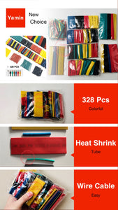 328Pcs/set Sleeving Wrap Wire Car Electrical Cable Tube kits Heat Shrink Tube Tubing Polyolefin 8 Sizes Mixed Color