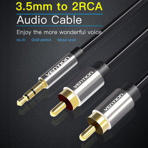 VENTION RCA Jack Cable 3.5mm Jack to 2 RCA Audio Cable 3m 2RCA Cable For Edifer Home Theater DVD RCA to 3.5mm AUX Cable Black-3 Meter