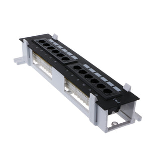 Network Tool Kit 12 Port CAT6 Patch Panel RJ45 Networking Wall Mount Rack Mount Bracket