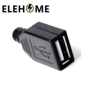 10pcs Type A Female USB 4 Pin Plug Socket Connector With Black Plastic Cover A Type Wire Bonding Base Plastic Case DIY XF30