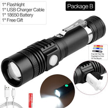 Super Bright Led flashlight USB led torch Zoomable Bicycle Light Rechargeable 12000LM