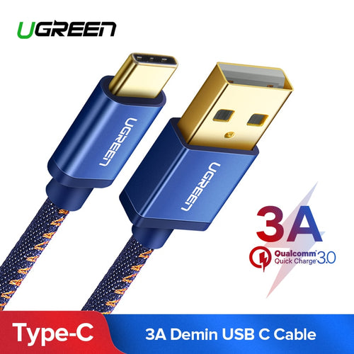 Ugreen USB C Cable for Xiaomi Mi 8 3A USB Type C Cable Fast Charge Data Cable for Samsung Galaxy S9 Nintend Switch USB Charger