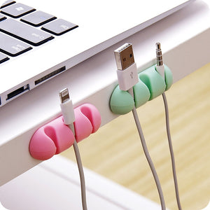 2pcs/lot Self-adhesive Cable Clip Desktop USB Cord Wire Fixing Organizer Charger Line