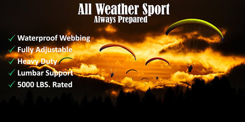 All Weather Sport, Always Prepared, Waterproof Webbing, Fully Adjustable, Heavy Duty, Lumbar Support, 5,000 LBS. Rated