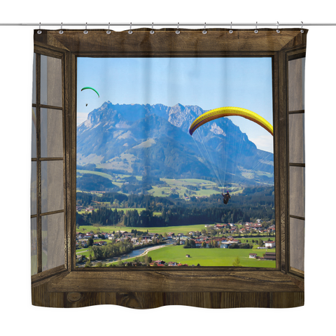 Paragliding Window Shower Curtains - Shower Curtains -  All Weather Sport