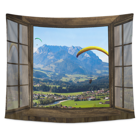 Paragliding Window Tapestry - Tapestries -  All Weather Sport