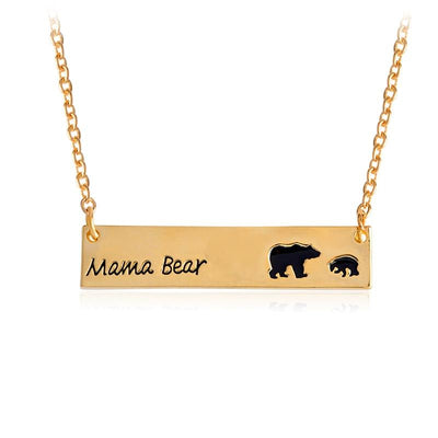 Mama Bear Tag Engraved Animal Pendant Necklace - gold1