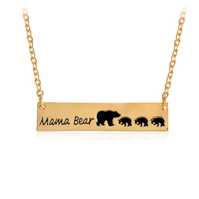 Mama Bear Tag Engraved Animal Pendant Necklace - gold3