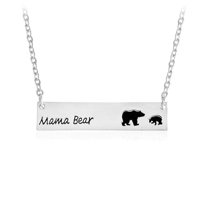 Mama Bear Tag Engraved Animal Pendant Necklace - silver1